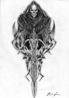 Awesome Grim Reaper Tattoo Design is one of best tattoo design for anyone who looking for a totally beautiful and incredible design. Awesome Grim Reaper Tattoo Design was uploaded on November Discover, save and rate your favorite tattoos and get inspired. Skull Tattoo Design, Skull Tattoos, Body Art Tattoos, Sleeve Tattoos, Tattoo Designs, Tattoo Tod, Death Tattoo, Sword Tattoo, Grim Reaper Art