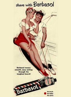 Barbasol Shaving Cream Pin-Up Girl Yachting 1950 - www.MadMenArt.com | Vintage…