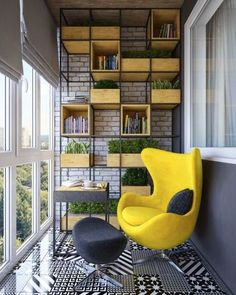 A modern balcony with a bookcase and a stylish armchair