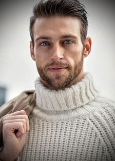 Well Dressed Men Most Beautiful Faces, Gorgeous Men, Handsome Bearded Men, Well Dressed Men, Male Face, Hot Guys, How To Look Better, Men Sweater, Turtle Neck