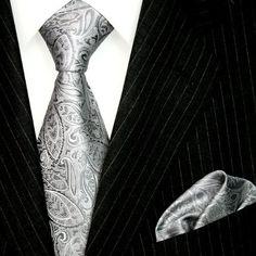 Lorenzo Cana Luxury Italian Pure Business Silk Tie Hanky Set Silver Gray Paisley Necktie 8445901