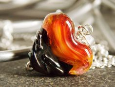 Red Metallic Lampwork Heart Pendant Necklace by KreationsbyKarenNB