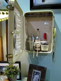Vintage Suitcase-could be used the store many things. I think with some shelves it would make a cool medicine cabinet!