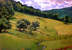 Oil Painting Landscape, Summer Idyll, Berkshires. Original Oil on Canvas, Impressionist Landscape Painting. $490.00, via Etsy.