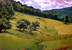 Oil Painting Landscape, Summer Idyll, Berkshires. Original Oil on Canvas, Impressionist Landscape Painting. $490.00, via Etsy.