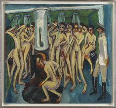 Ernst Ludwig Kirchner, Das Soldatenbad, 1915, (DEP950), private collection - Bathing - Wikipedia Edouard Manet Paintings, Degas Paintings, Oil On Canvas, Canvas Art, Canvas Prints, A4 Poster, Poster Prints, Tom Thomson Paintings, Winslow Homer Paintings