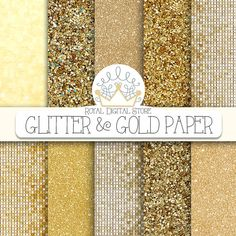 "Gold glitter digital paper: ""GLITTER AND GOLD"" with glitter background, gold glitter texture, gold background, gold texture for invitations #paper #shabby"