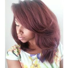 Straight hair with Ion Demi-Permanent Light Burgundy Blonde color
