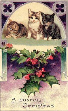"Vintage Christmas Kittens "" A Joyful Christmas"""