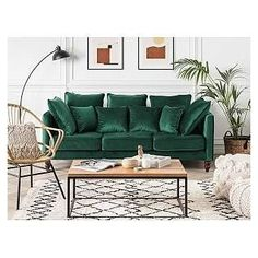 Living Room Green, Living Room Sofa, Home Living Room, Living Room Designs, Green Couch Decor, Green Couches, Emerald Green Sofa, Chesterfield Sofas, Vintage Sofa