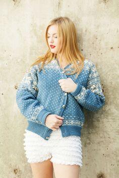 LABEL: Husfliden ORIGIN: Hand knit in Oslo, Norway Vintage Sweaters, Blue Sweaters, Wool Sweaters, Norwegian Knitting, Velvet Hat, Fair Isle Pattern, Oversized Cardigan, Blue Wool, Pink Silk