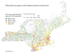 """One in three towns in New England have barely grown since the Civil War: post and visualization."""