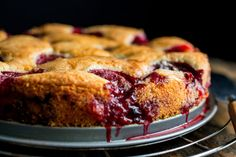 """Plum Torte by nytimes: The Times published Marian Burros's recipe for Plum Torte every September from 1982 until 1989, when the editors determined that enough was enough. The recipe was to be printed for the last time that year. """"To counter anticipated protests,"""" Ms. Burros wrote a few years later, """"the recipe was printed in larger type than usual with a broken-line border around it to encourage clipping."""" (Photo: Andrew Scrivani for The New York Times) #Torte #Plum"""