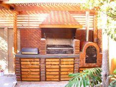 Fotos de parrilla y quincho Built In Braai, Barbecue Design, Casa Loft, Backyard Renovations, Wood Fired Oven, Outdoor Living, Outdoor Decor, Bbq Grill, Home Deco