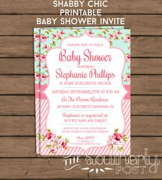 Items similar to Shabby Chic Baby Shower Invitation - Baby Girl - Pink and Aqua - Preppy - Southern - Cottage Chic - Baby Sprinkle - Printable - DIY on Etsy Baby Shower Prizes, Baby Shower Niño, Shabby Chic Baby Shower, Baby Shower Invites For Girl, Baby Boy Shower, Baby Shower Invitations, Invitaciones Baby Shower Niña, Pink Invitations, Invitation Ideas