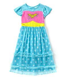 Love this Blue Wonder Woman Nightgown - Toddler & Girls on #zulily! #zulilyfinds