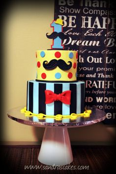 Mustache themed birthday  - My first mustache themed cake!  Fun, fun, fun!