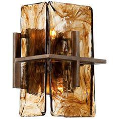 "Bronze Gold Art Glass 8"" Wide Wall Sconce - #V1965 | LampsPlus.com"