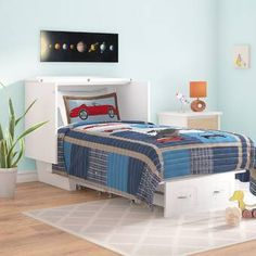 Viv + Rae Charles Twin Storage Murphy Bed with Mattress Color: White Full Murphy Bed, Queen Murphy Bed, Murphy Beds, Solid Wood Platform Bed, Upholstered Platform Bed, Cushion Headboard, Bed Wall, Bed Plans, Cool Beds