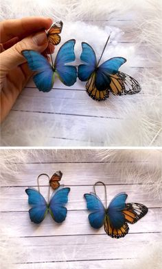 Big but Light Butterfly Earrings with Monarch and Bleu De France Butterflies, Totally Mismatched Asymmetric Earrings of Silk Butterfly wings Butterfly Earrings, Butterfly Wings, Hair Clips, Butterflies, Fairy, Ship, France, Jewels, Pure Products