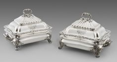 A pair of George III Entrée Dishes and Covers, silver & old-sheffield, London 1820, maker's mark of Paul Storr. The bases decorated with a shell, anthemion and gadrooned border. The fluted detachable tops with acorn and oak leaf finials. One side engraved with the coat-of-arms of Armory family of St Anne's near Bristol co. Somerset, Bunratty Castle co Clare and Boston USA. The other side and bases with the family crest. Fully hallmarked to the bases, and covers, part marked to the detachable…