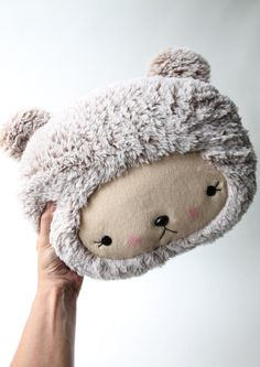 Plush Kawaii Teddy Bear Pillow in Cuddle Minky Faux Fur