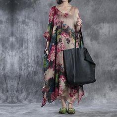 Women summer print chiffon dress( chiffon dress and slip dress)