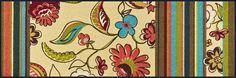 Details:  Modernes, florales Design, Vielseitig einsetzbar und kombinierbar, Bunte, fröhliche Farben, Mit rutschhemmender Rückenbeschichtung,  Qualität:  1.92 kg/m² Gesamtgewicht, 7 mm Gesamthöhe, Rücken 100% Nitrilgummi, Rutschhemmende Beschichtung auf der Unterseite,  Flormaterial:  100% Polyamid,  Wissenswertes:  Waschbar bei 60° C, Trocknergeeignet bis zu 90° C oder flach zum Trocknen ausle...