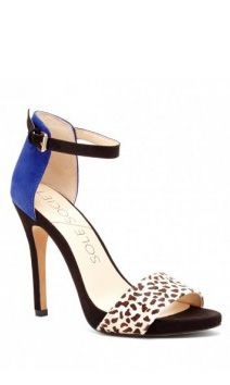 Black & blue suede heels with a leopard printed haircalf front strap