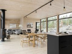 Country Living Magazine, H&m Home, Forest House, Wooden House, House Made, Nordic Style, Philip Johnson, Interior And Exterior, Kitchen Dining