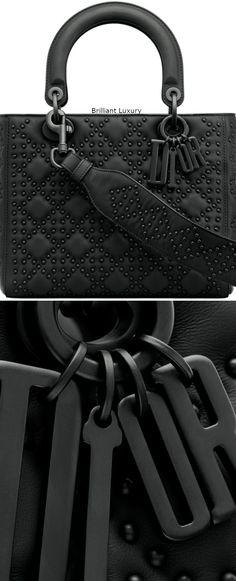 671af2757688 Brilliant Luxury│Lady DIOR Art Bag in black studded matt Cannage calfskin  and ultra-black finish metal jewellery