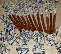 Indigo blue and white gourmet oreos and pretzels