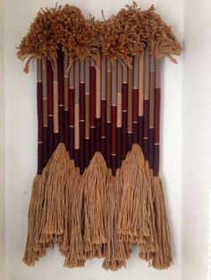 Original Vintage Large Wool Textile Wall Art Hanging Fibers by Tate 1981 Fiber Art Home Decor Weaving Textiles, Weaving Art, Tapestry Weaving, Weaving Projects, Macrame Projects, Textile Fiber Art, Metal Hangers, Macrame Design, Weaving Techniques