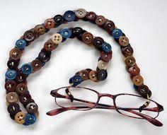 Cadena gafas Vintage botones en marrones y azules por MRSButtons