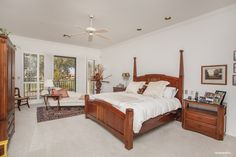 Gainey Ranch home for sale in Scottsdale, Arizona. Master bedroom with mountain views.