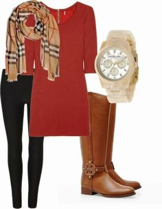 Adorable cute and simple fall fashion (I have the watch, all I need is the boots and the scarf)