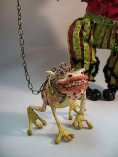 """Funny Frog with Long Nose and Bell on a chaste..Sculpted & Painted by hands< , with wire armature/    And some doll with Frog too:   """"..."""