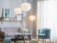 Pouf poggiapiedi in tessuto azzurro 50 x 35 cm CONRAD - Beliani. Beliani, Pendant Lamp, Chair, Furniture, Pouf, Accent Chairs, Interior Design, Home Decor, White Pendant Lamp