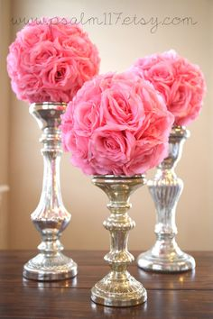 3 - 8 inch wide - BABY PINK - wedding pomanders -  you choose ribbon color