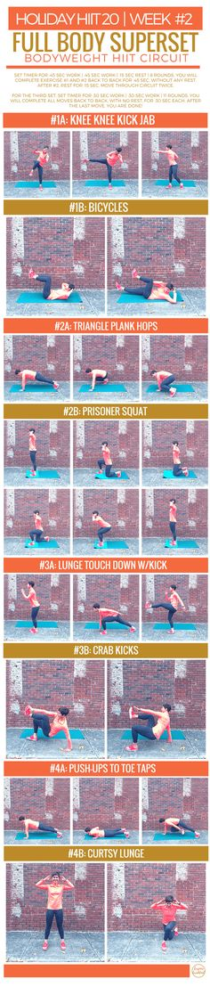 This full body superset bodyweight HIIT circuit is the newest in the Holiday HIIT 20 series. Running For Beginners, Running Tips, Workout For Beginners, Start Running, Total Gym Workouts, Fun Workouts, At Home Workouts, Circuit Workouts, Body Workouts