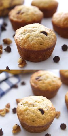The best chocolate chip banana muffins! So easy to make and taste just like grandma used to make. So moist and delicious! Just make sure to double the recipe so you don't run out too fast! We love the mini version too! Muffins Chocolate Chip, Banana Bread Muffins, Chocolate Chip Recipes, Banana Bread Recipes, Mini Muffins, Choc Chip Banana Bread, Banana Protein Muffins, Raisin Muffins, Almond Muffins