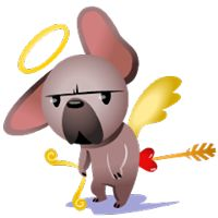 Mugsy In Love Facebook Stickers by Ghostbot. A little pup with a big heart