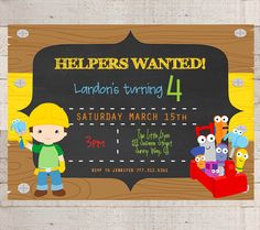 Handy Manny Birthday Party Invitations Handy by myhappylifedesigns, $12.00