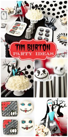 A fabulous Tim Burton Halloween party with cake pops, chocolate covered Oreos and a button-eyed stitched doll!  See more party planning ideas at CatchMyParty.com!