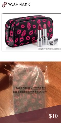 Avon Kisses Cosmetic Bag New in package. Super cute!! Black with pink kisses. Avon Bags Cosmetic Bags & Cases