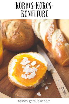 Hier geht es um vegane Kürbis-Kokos-Konfitüre, die nicht nur absolut großartig schmeckt, sondern auch noch in einer echten Gute-Laune-Farbe daherkommt. Cantaloupe, Sweet Potato, Gluten, Potatoes, Fruit, Vegetables, Breakfast, Food, Pumpkin Jam