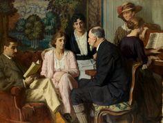 René François Xavier Prinet  Au salon à Luxeuil, réunion chez les Desgranges