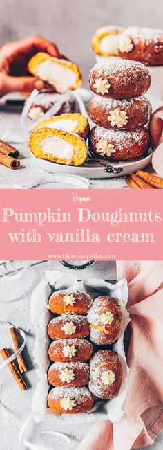 Easy Pumpkin Doughnuts (Stuffed Vegan Donuts) with vanilla cream filling. They're soft, moist, delicious and can either be baked in the oven, or deep-fried. Vegan Donut Recipe, Vegan Doughnuts, Donut Recipes, Donuts Donuts, Homemade Pumpkin Puree, Pumpkin Recipes, Tempura, Cream Filled Donuts, Beignets