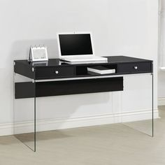 A Line Furniture Contemporary Modern Style Glass Home Office Glossy Black Computer/Writing Desk with Drawers Home Office Space, Home Office Desks, Home Office Furniture, Contemporary Desk, Modern Desk, Metal Computer Desk, Computer Workstation, Writing Desk With Drawers, Coaster Fine Furniture