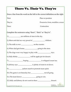 Second Grade Reading & Writing Worksheets: There, Their, They're Teaching Language Arts, Teaching Writing, Teaching English, Teaching Resources, Teaching Ideas, English Lessons, Learn English, English Grammar Worksheets, Writing Worksheets